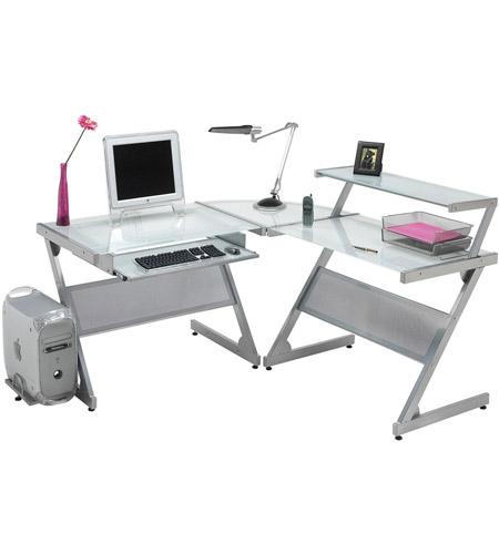 Dainolite Dct 340 Gl Sv Computer Table 37 X 24 Inch Frosted And