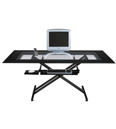 Dainolite Lighting Work Station Furniture in Black Glass and Black Graphite  DCT-600-BGL-BK photo