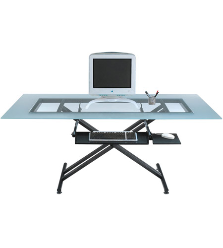 Dainolite Lighting Work Station Furniture in Frosted and Black  DCT-600-GL-BK photo