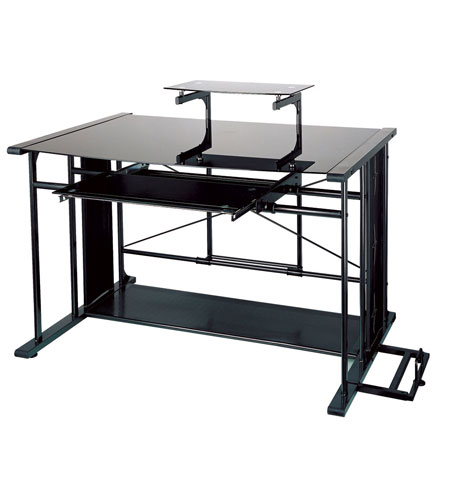 Dainolite Lighting Computer Table Furniture in Black and Black  DCT-926-BGL-BK photo