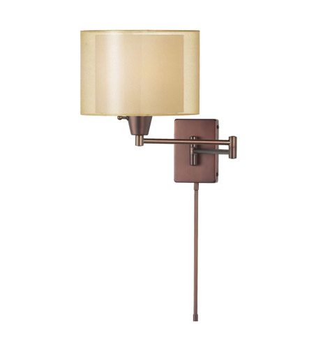 Dainolite Lighting Swing-Arm 1 Light Wall Lamp in Oil Brushed Bronze  DWL80RLS-OBB-GLD