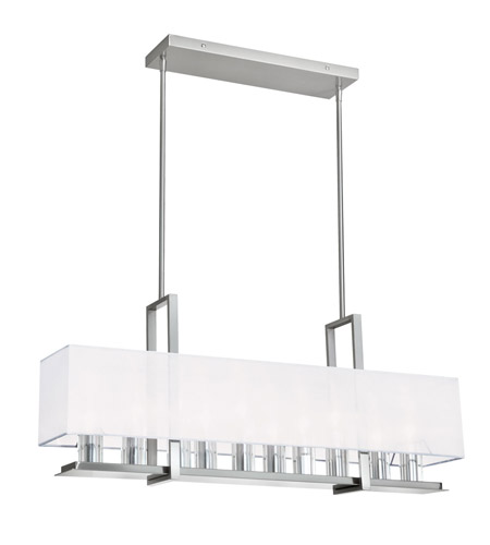 Dainolite Gallery 10 Light Horizontal Chandelier in Satin Chrome with White Shade GRY-3510C-SC-790 photo
