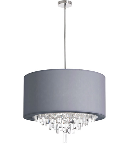 Dainolite Jasmine 6 Light Chandelier in Polished Chrome with Silver Lycra Shade JAS-196C-PC-923 photo