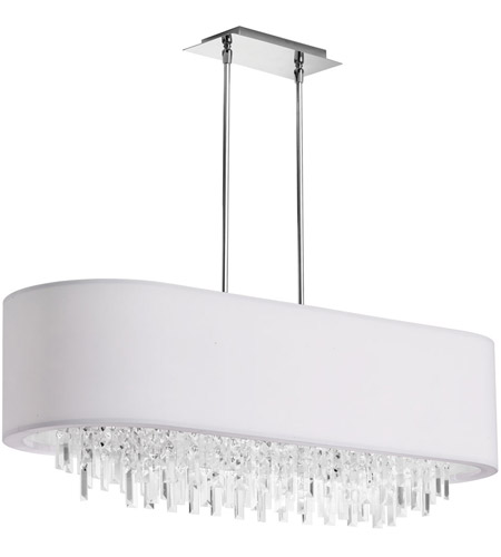 Dainolite Jasmine 8 Light Chandelier in Polished Chrome with White Lycra Shade JAS-41C-PC-900 photo