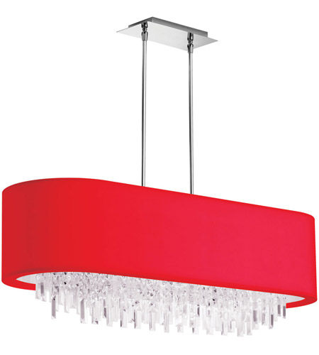 Dainolite Jasmine 8 Light Chandelier in Polished Chrome with Red Lycra Shade JAS-41C-PC-927 photo
