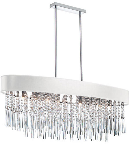 Dainolite Josephine 8 Light Chandelier in Polished Chrome with White Baroness Shade JMS368-PC-693 photo