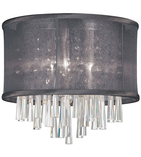 Dainolite Josephine 3 Light Flush Mount in Polished Chrome with Black Organza Shade JOS103FH-PC-115 photo
