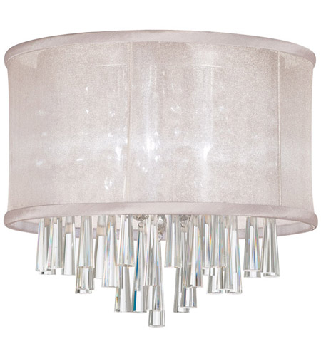 Dainolite Josephine 3 Light Flush Mount in Polished Chrome with Oyster Organza Shade JOS103FH-PC-117 photo
