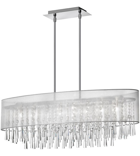 Dainolite Josephine 8 Light Oval Chandelier in Polished Chrome with Silver Organza Shade JOS368-PC-814 photo