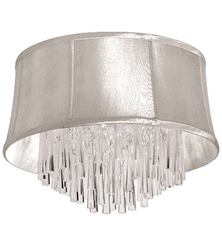 Dainolite Julia 4 Light Flush Mount in Polished Chrome with Oyster Organza Shade JUL184FH-PC-117 photo