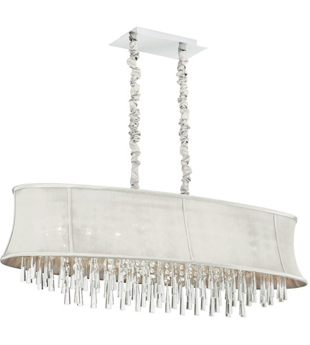 Dainolite Julia 8 Light Chandelier in Polished Chrome with Silk Glow Pearl Shade JUL408-PC-140 photo