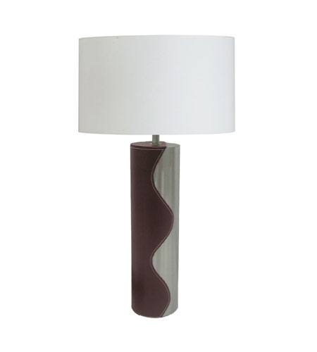 Dainolite Signature 1 Light Table Lamp in Satin Chrome and Brown with White Flax Shade LTHR759-LSC photo