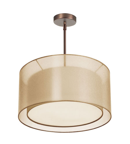 Dainolite Melissa 3 Light Pendant in Oil Brushed Bronze with Gold Lam Organza Shade MEL228-OBB-811 photo