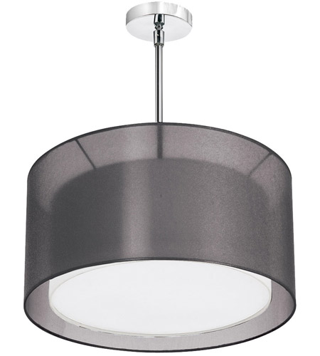 Dainolite Melissa 3 Light Pendant in Satin Chrome with Black Lam Organza Shade MEL228-SC-815 photo
