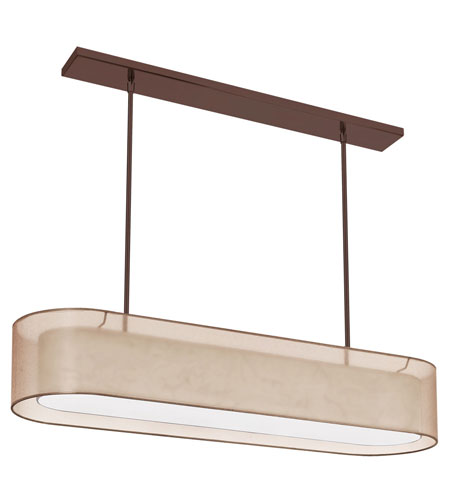 Dainolite Melissa 4 Light Pendant in Oil Brushed Bronze with Gold Lam Organza Shade MEL448-OBB-811 photo