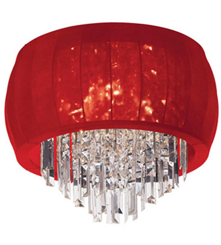 Dainolite Maya 4 Light Flush Mount in Polished Chrome with Red Lycra Shade MYA-19FH-PC-927 photo