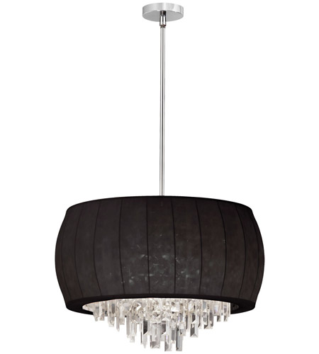 Dainolite Maya 6 Light Chandelier in Polished Chrome with Black Lycra Shade MYA-22C-PC-901 photo