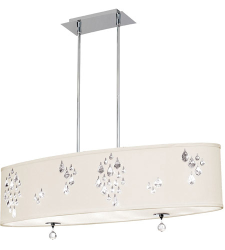 Dainolite Rhiannon 8 Light Pendant in Polished Chrome with Ivory Baroness Shade RHI-388C-PC-695 photo