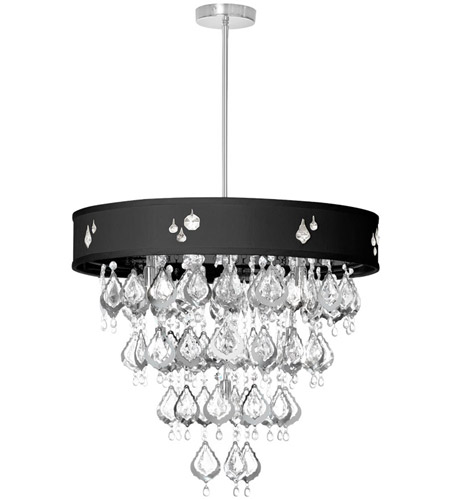 Dainolite Silhouette 8 Light Chandelier in Polished Chrome with Black Baroness Shade SIL-2208C-PC-694 photo