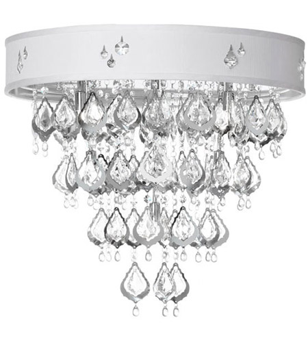 Dainolite Silhouette 8 Light Flush Mount in Polished Chrome with White Baroness Shade SIL-2308FH-PC-693 photo