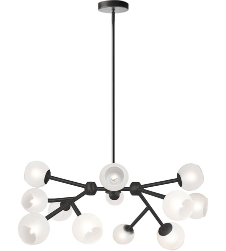 Dainolite TWD-4012C-MB-FR Tanglewood 12 Light Matte Black Chandelier Ceiling Light