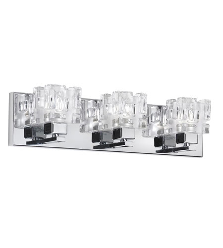 Dainolite Lighting Clear Crystal 3 Light Vanity in Polished Chrome  V1232-3W-PC photo