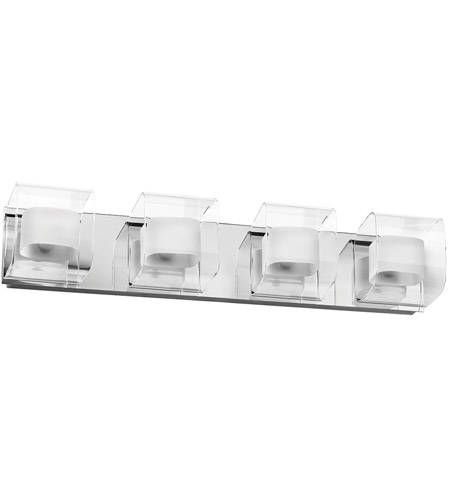 Dainolite V6015-4W-PC Frosted Glass 4 Light 26 inch Polished Chrome Vanity Wall Light photo