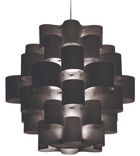 Dainolite ZUL-3634-PC-BK Zulu LED 36 inch Polished Chrome Pendant Ceiling Light in Black Jewel Tone photo