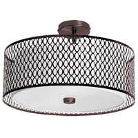 Signature 3 Light 17 inch Vintage Oiled Brushed Bronze Flush Mount Ceiling Light