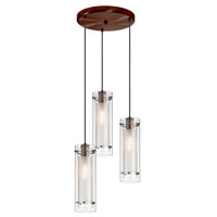 Frosted Glass 3 Light 5 inch Oil Brushed Bronze Pendant Ceiling Light