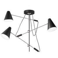 Signature 3 Light 54 inch Polished Chrome and Matte Black Pendant Ceiling Light, Adjustable Arm
