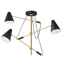 Signature 3 Light 54 inch Vintage Bronze and Matte Black Pendant Ceiling Light, Adjustable Arm