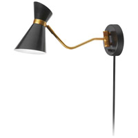 Cameron 22 inch 60 watt Black and Vintage Bronze Swing Arm Wall Lamp Wall Light