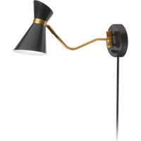 Dainolite 1681W-BK-VB Cameron 22 inch 60 watt Black and Vintage Bronze Swing Arm Wall Lamp Wall Light