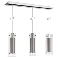 Dainolite Signature 3 Light Pendant in Polished Chrome with Silk Glow Steel Shade 22153-834-PC