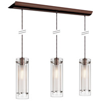 Dainolite Lighting Frosted Glass 3 Light Pendant in Oil Brushed Bronze  22153-CF-OBB