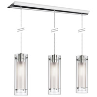 Frosted Glass 3 Light 5 inch Polished Chrome Pendant Ceiling Light