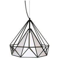 Dainolite Signature 1 Light Pendant in Black with Ivory Shade 245-141P-IVY