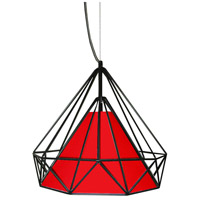 Dainolite Signature 1 Light Pendant in Black with Red Shade 245-141P-RD