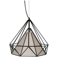 Dainolite Signature 1 Light Pendant in Black with Tan Shade 245-141P-TAN