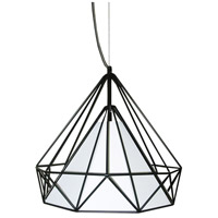 Dainolite Signature 1 Light Pendant in Black with White Shade 245-141P-WH
