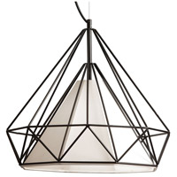 Dainolite Signature 1 Light Pendant in Black with Ivory Shade 245-181P-IVY