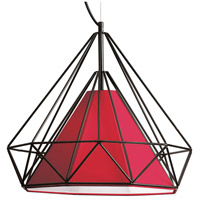 Dainolite Signature 1 Light Pendant in Black with Red Shade 245-181P-RD