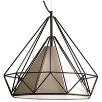 Dainolite Signature 1 Light Pendant in Black with Tan Shade 245-181P-TAN