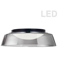 Dainolite 3145-LEDFH18-SM-MB Crawford LED 18 inch Matte Black/Smoked Flush Mount Ceiling Light
