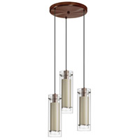 Dainolite Signature 3 Light Pendant in Oil Brushed Bronze with Tan Fabric Shade 53153R-4151-OBB