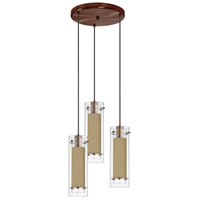 Dainolite Signature 3 Light Pendant in Oil Brushed Bronze with Silk Glow Latte Shade 53153R-838-OBB