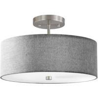 Dainolite 571-143SF-SC-GRY Signature 3 Light 14 inch Satin Chrome Semi Flush Mount Ceiling Light