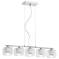 Dainolite Lighting Frosted Glass 5 Light Pendant in Polished Chrome  60155-PC