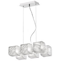 Dainolite Lighting Fabric Glass 6 Light Pendant in Polished Chrome  60156-PC-771